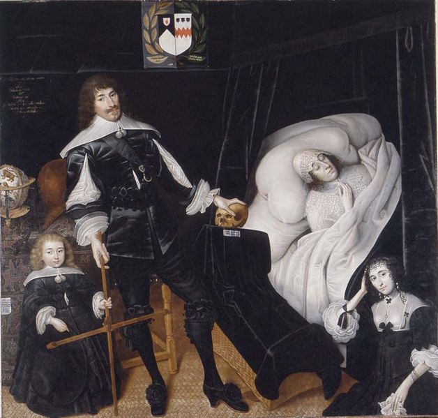 Sir Thomas Aston, 1st Baronet (1600-1646) at the deathbed of his wife. By John Souch